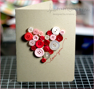 I saw this fantastic idea for a Valentines Button Card on this blog (by the