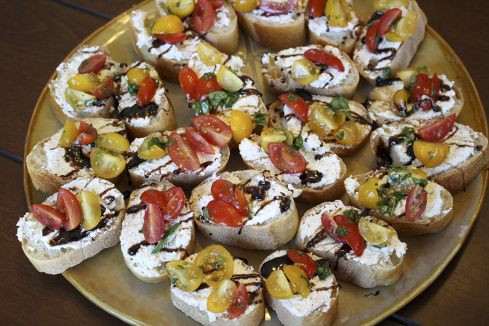 Tomato, Basil, Balsamic & Cheese Crostinos